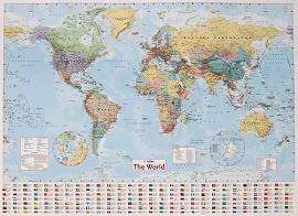 Collins World Wall Map (40inch x 54inch)  only £2.99 @ The Works