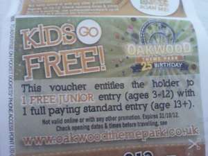 Oakwood Theme Park - free child entry with paying adult. - £21