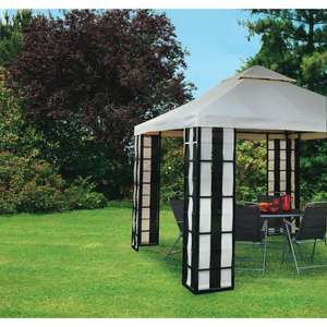 Wilko Deluxe Textilene Gazebo Black/Cream 3m - Was £250, now £75! Wilkinsons