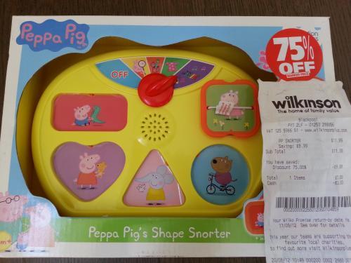 Peppa Pig shape sorter - wilkinsons - was £11.99 now £3.00