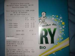 Fairy Washing Powder non-bio 10 washes 800g £2.39 at the Co-op