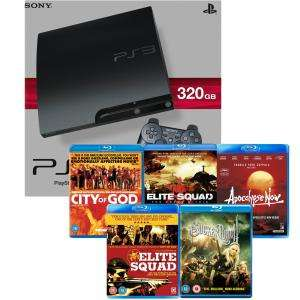 Playstation 3 PS3 Slim 320GB Console + 5 Blu-rays - £189.95 at Zavvi