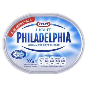 2 x 300g Light Philadelphia/Philly Cream Cheese Spread - Farm Foods £1 for two!