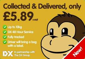 DX 48 Hour Service. Up to 10KG. Courier brings the bag (A3) and label! £5.89+vat @ ParcelMonkey