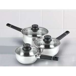 ASDA Stainless Steel Saucepan Set - 3 Piece for £8.00 @ Asda Direct