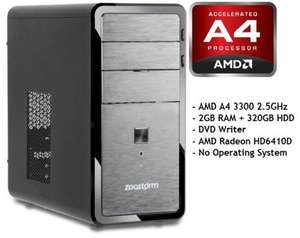Zoostorm Desktop PC, AMD A4 3300 2.5GHz, 2GB RAM, 320GB HDD, DVDRW £129.99 @ Ebay Ebuyerexpress
