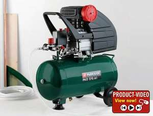 2.5hp Air Compressor with 24ltr receiver & 10m hose £89.99. Also air tools from £4.99 @ Lidl from 17th September