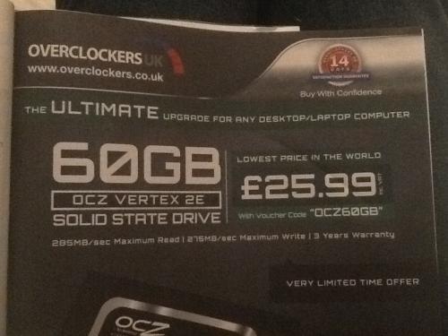 OCZ 60GB SSD - £28.47 with code (£25.99+del) - Overclockers