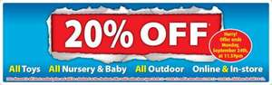 20% off ALL Toys, Outdoor, and Nursery until Monday @ Smyths Toys