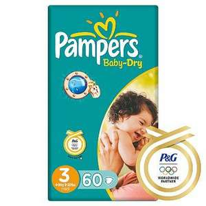 Pampers baby dry nappy, size 3 only (60 nappies) £2.49 instore @ Asda