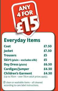 4 items for £15 - In-store Morissons Dry Cleaning - Winter coats included!