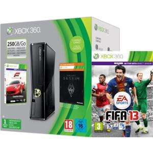Xbox 360 250GB Holiday Bundle (Includes Forza 4 'Essentials Edition', Skyrim 'Live DLC', 1 Month Xbox Live) Games Consoles Plus FIFA 13 Or Halo 4 or Medal of Honour Warfighter or Far Cry 3 or NFS Most Wanted available for pre order at Zavvi.com for £