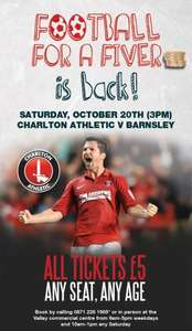 Championship Footie for a fiver - Charlton v Barnsley 20/10