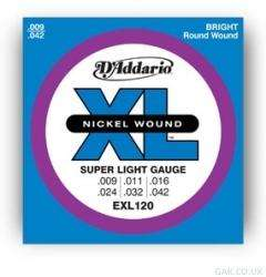 D'Addario EXL120 electric guitar strings (9-42) BOGOF - 2 packs for £4.99 with free nominated day delivery @ GAK (or 10-gauge £4.28 for 2)