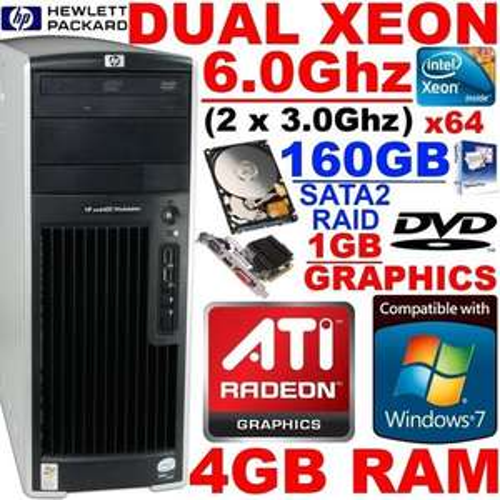 HP Dual Xeon 6.0Ghz 64-Bit Gaming PC NEW 1GB GFX 4GB RAM Desktop Tower Computer £155.99 delivered @ eBay / bargain*hardware