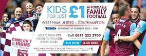 West Ham v Southampton Kids for a Quid on 20 October