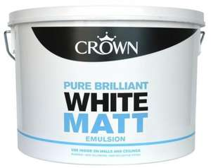 Crown Matt Emulsion Pure Brilliant White 10L £10.00 At B&Q