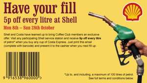 5p off every litre of Petrol/Diesel with a Costa Express purchase @ Shell