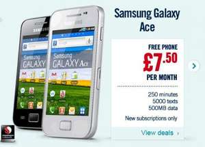 £7.50/24 month contract with Free Samsung Galaxy Ace Phone @ Talk Mobile plus £40 cashback @ Quidco