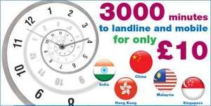 Unlimited calls to India/China... for £10.00 a month @ Lycamobile