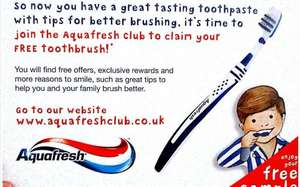 Free toothbrush from Aquafresh