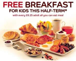 Two kids eat free when one adult purchases a £8.25 (All you can eat) breakfast meal at Brewers Fayre