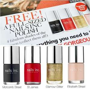 Free nails inc Nail Polish with Dec issue on sale 1st November 2012 - £2 @ Glamour Magazine