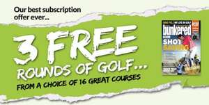 3 Free rounds of golf with Bunkered magazine subscription-£35.00