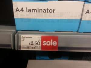 A4 Laminating machine £2.50 at Asda (instore)