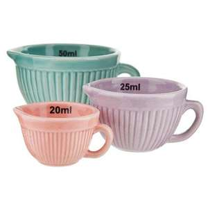 3 Porcelain Measuring Cups £1 poundland