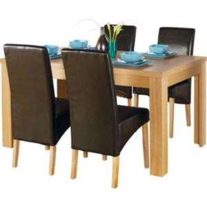 Weston Oak Dining Table and 4 Black Skirted Chairs £179.99 @ Argos