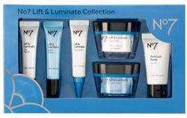 Better than half price No 7 Lift & Luminate Collection or Protect & Perfect Intense Collection reduced to £50 at Boots instore & online