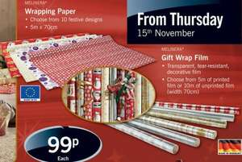 Gift Wrap/Decorative film/paper - (Printed film 5m x 70cm) or (Unprinted film 10m x 70cm) or (Printed Paper 5m x 70cm) - 99p @ LIDL