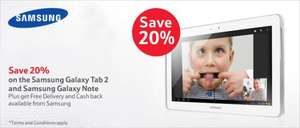 Samsung Galaxy Tab 2 8GB 7'' White £158 (£128 or £118) + 8GB card, 16GB 10.1'' £238(£188 or £178) & Note 16GB 10.1'' £318(£268 or £258) + SAMSUNG CASHBACK (£30,£50) + 4.5% quidco or 3.03% tcb@TESCO instore & online