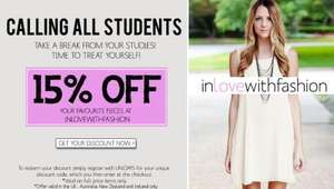 STUDENTS get 15% off In Love With Fashion online shop