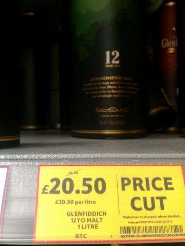 Glenfiddich 12yo Malt Whisky £20.50 (1 Litre) instore Tesco