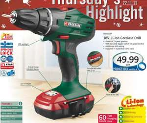 Parkside 18V Li-Ion Cordless Drill - 2 speed gear box, LED work light, 60 min fast charging, ROHM chuck (germany), 3 yr warranty for £49.99 only @ LIDL from 10 Nov