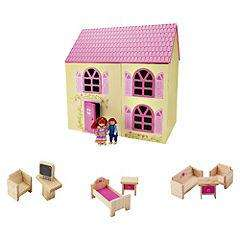Traditional Dolls House with 10-piece Pack R&C @ Sainsburys £17.99