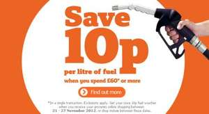 10p off a litre of fuel with a £60 spend at Sainsburys from tomorrow.