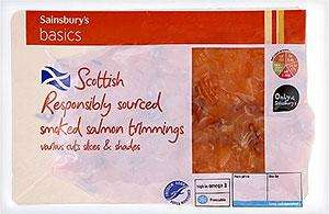 SMOKED SALMON TRIMMINGS 120Grams 90p @ Asda