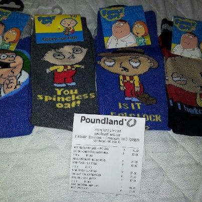 Family guy socks sizes 6-11 (mens) £1 each instore @ poundland