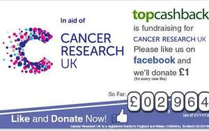 Like the Top Cash Back Facebook Page. and they'll donate a £1 to Cancer Research