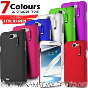 HARD BACK SKIN CASE, Screen Protector & MINI STYLUS FOR SAMSUNG GALAXY NOTE 2 7 colours 99p @ g5online ebay