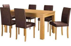 CHILTERN OAK DINING TABLE AND 4 CHOCOLATE MIDBACK CHAIRS argos £208.94 inc del