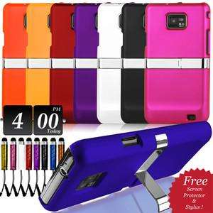 Kick Stand Case (various colours) + Screen Protector + Stylus + Cloth for Samsung Galaxy S2 99p at eBay/carestia-accessories