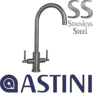 Astini Baldo Brushed Stainless Steel Twin Handle Kitchen Sink Mixer Tap HK72 for £142.99 @ Taps UK
