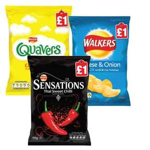 Walkers sharing bags crisps and snacks price marked £1 now on BOGOF at Budgens and Londis