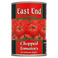 East End Chopped Tomatoes 400G 4 for £1 at Tescos from Today