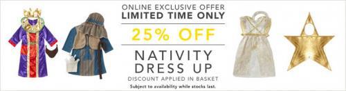 25% OFF nativity costumes - ASDA George - Star costume £4.50, Shepherd/angel £6