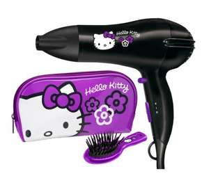 HELLO KITTY 5248HKGU Hello Kitty Hair Dryer Gift Set - Black was £40 now only £14.99 @ Currys